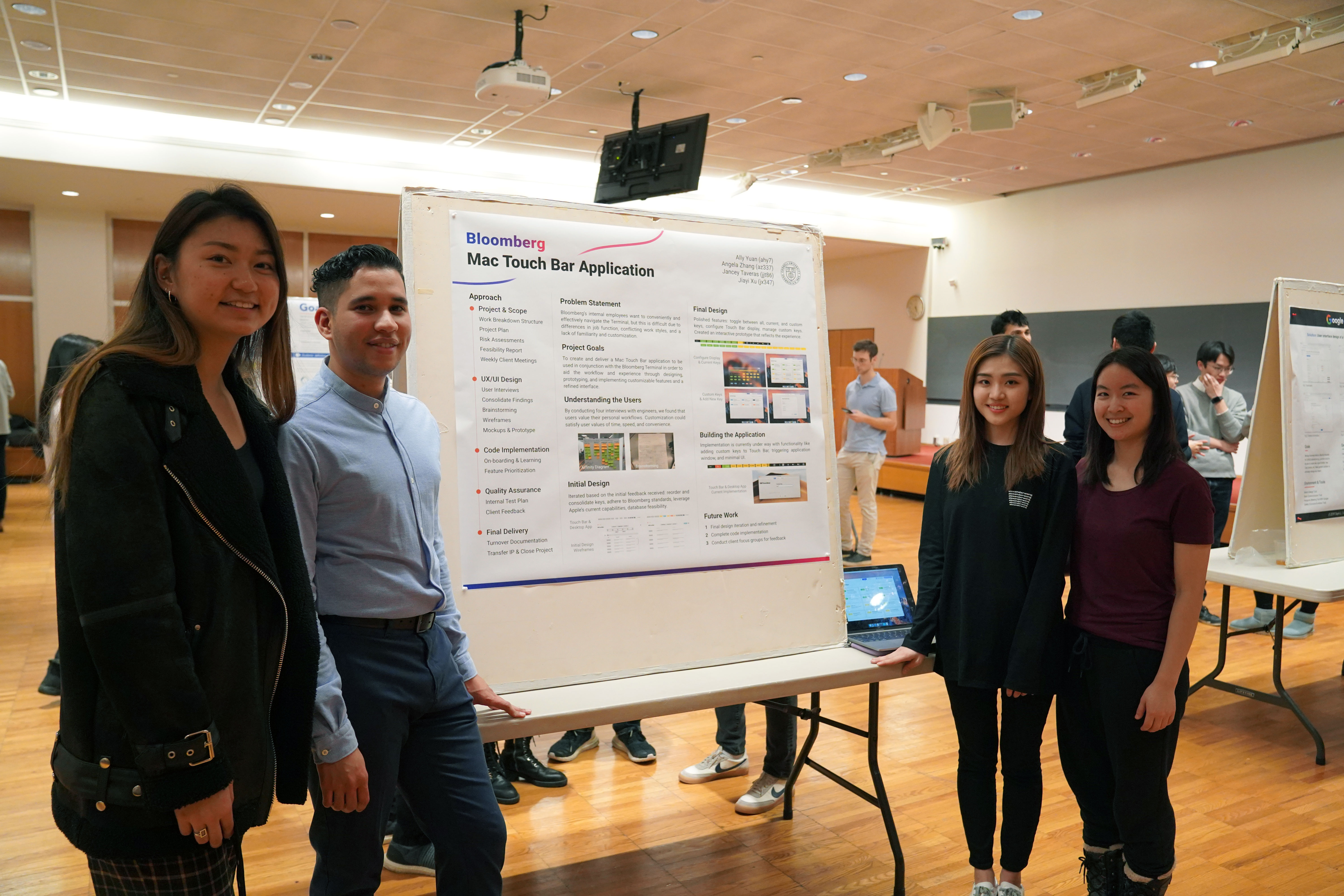 Working with Bloomberg, this Info Sci MPS team researched, designed, built and implemented a Touch Bar application with quick keys that would seamlessly integrate with Bloomberg's current computer system.