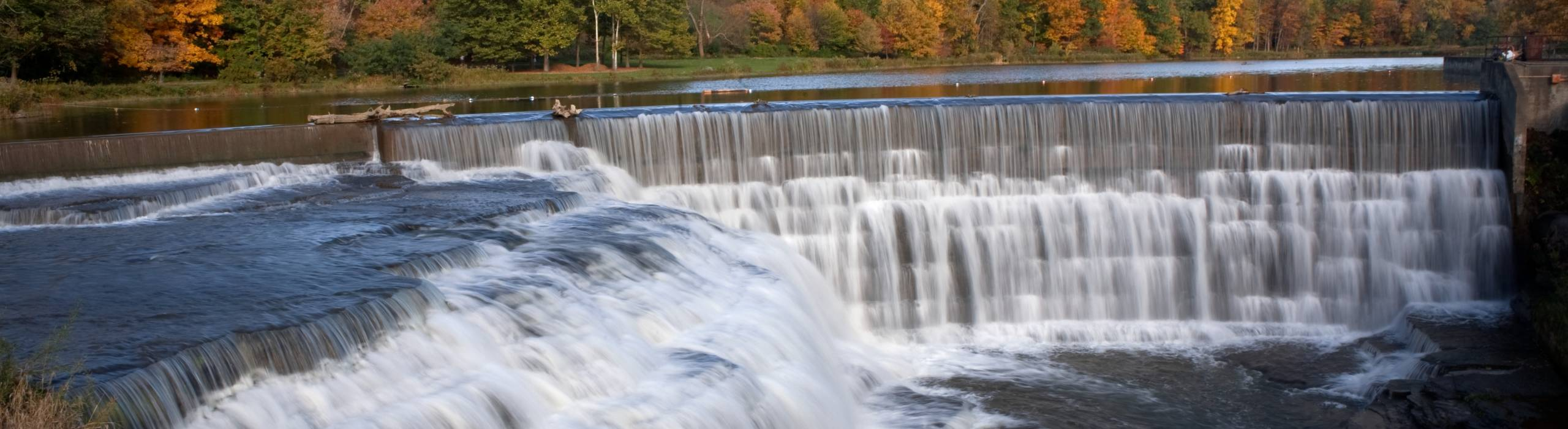 Beebe Lake and Beebe Dam in fall.