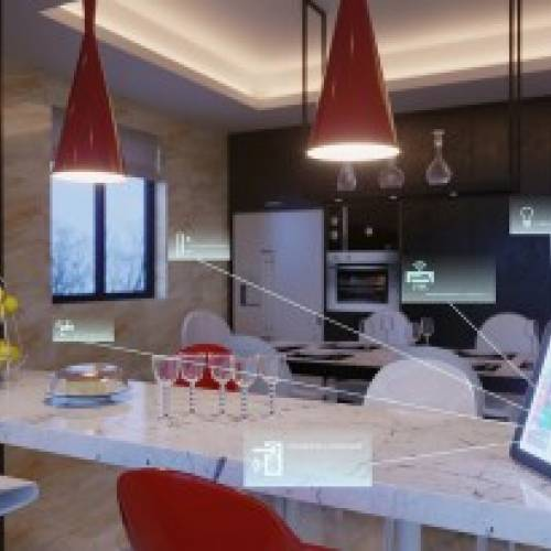 A tablet device captures data from smart kitchen appliances.