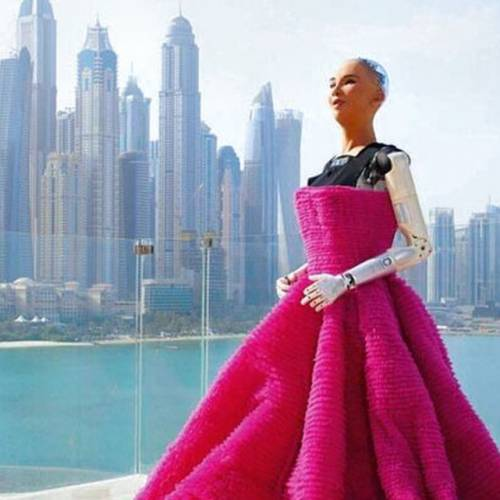 Robot in pink dress with a skyline in the background.