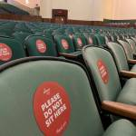 Chairs are marked to distance students who will use the venue as a classroom at Tulane University in New Orleans. Credit: Catherine Koppel/Reuters via the New York Times
